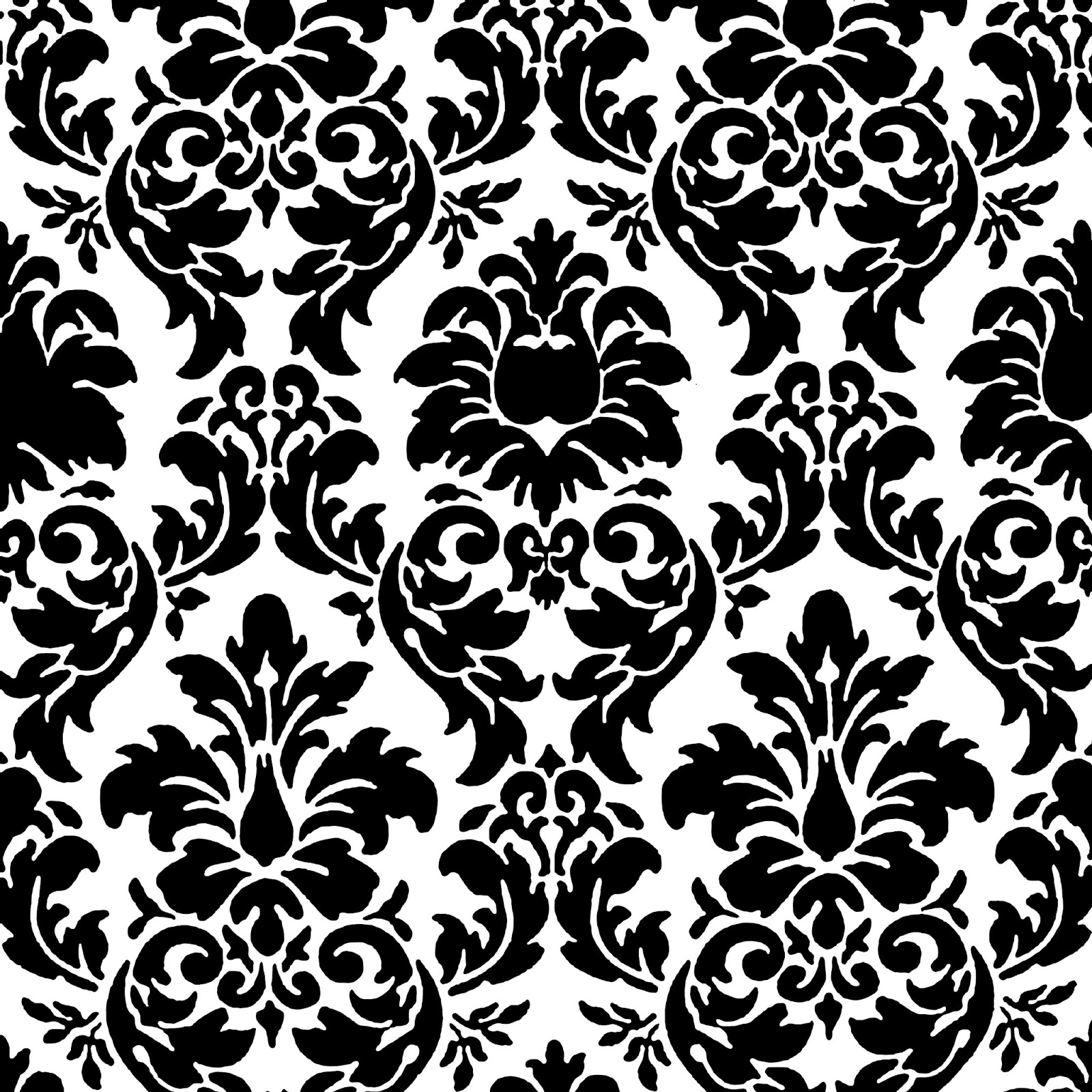 black positive space damask black and white free floral ... - photo#26