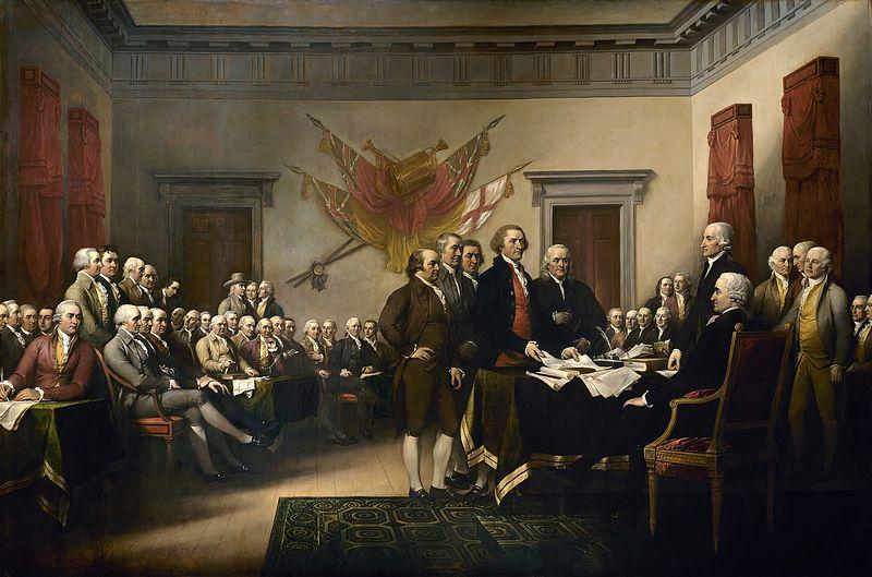 有名な独立宣言にサインするシーン (From wikipedia.org)